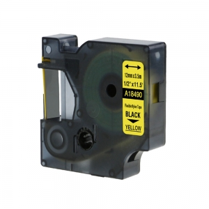 Compatible Flexible Nylon Tape, 12 mm x 3,5 m, black on yellow