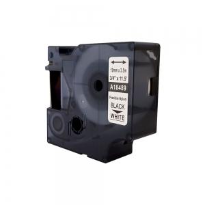Etichete industriale autocolante compatibile, DYMO ID1, nailon flexibil, 19mm x 3.5m, negru/alb, 18489 S0718120-C5