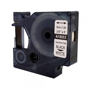 Compatible Heat Shrinking Tubing ID1, 9 mm x 1,5 m, black on white, DYMO code DYA 18053