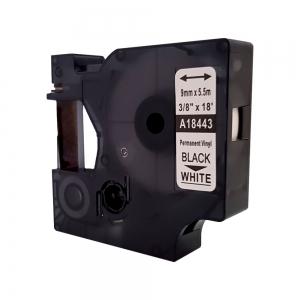 Etichete industriale autocolante compatibile, DYMO ID1 vinil, 9mm x 5.5m, negru/alb, S0718580-C 184435