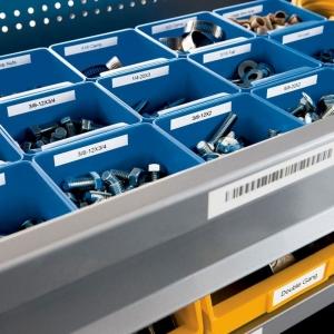 Etichete industriale autocolante compatibile, DYMO ID1 vinil, 9mm x 5.5m, negru/alb, S0718580-C 184434