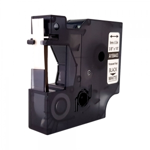 Etichete industriale autocolante compatibile, DYMO ID1 vinil, 9mm x 5.5m, negru/alb, S0718580-C 184436