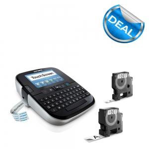 Aparat de etichetat Touch Screen DYMO LabelManager 500TS si o caseta etichete profesionale, 9mmx7m, negru/alb, S0946420 S09464500