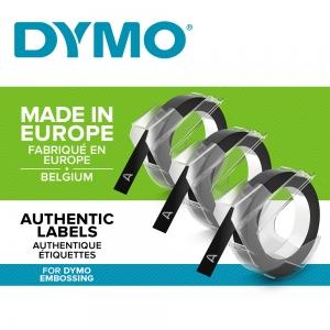Etichete plastic embosabile DYMO Omega, 9mmx3m, negru, 3buc/set, S08477301