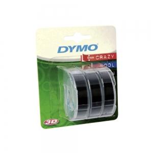 Etichete plastic embosabile DYMO Omega, 9mmx3m, negru, 3buc/set, S084773010