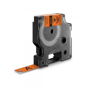 Etichete industriale autocolante, DYMO ID1 vinil, 12mm x 5.5m, negru/portocaliu, 18435 S07184900