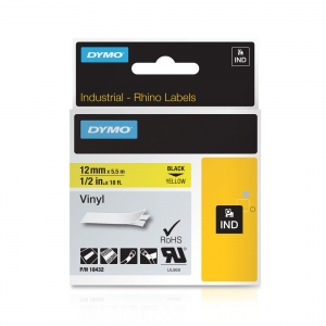 Etichete industriale autocolante, DYMO ID1 vinil, 12mm x 5.5m, negru/galben, 184321