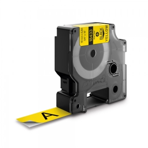 Etichete industriale autocolante, DYMO ID1 vinil, 19mm x 5.5m, negru/galben, 18433 S07184700