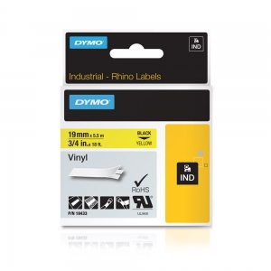 DYMO industrial, All purpose vinyl labels, 19mm x 5.5m, black on yellow, 18433 S07184704