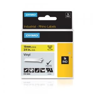 Etichete industriale autocolante, DYMO ID1 vinil, 19mm x 5.5m, negru/galben, 18433 S07184704