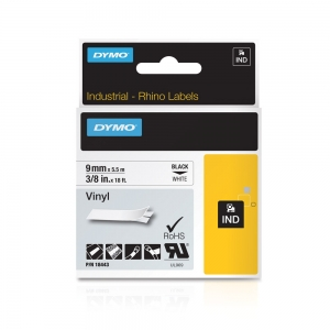 DYMO industrial ID1, All purpose vinyl labels, 9mm x 5.5m, black on white, 18443 S07185805