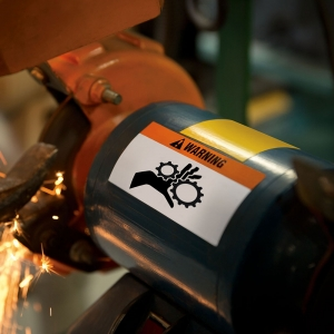 Etichete industriale autocolante, DYMO ID1 vinil, 19mm x 5.5m, negru/portocaliu, 18436 S07185002