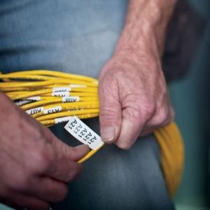 Etichete industriale autocolante, DYMO ID1, nailon flexibil, 19mm x 3.5m, negru/alb, 18489 S07181202