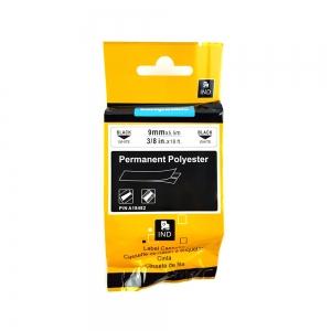 Etichete industriale autocolante compatibile, DYMO ID1, poliester permanent, 9mm x 5.5m, negru/alb, 18482 18482-C4