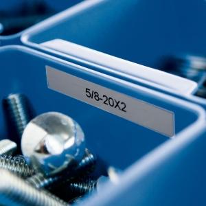 Etichete industriale autocolante, DYMO ID1, poliester permanent, 12mm x 5.5m, negru/argintiu metalizat, 184862