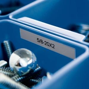 Etichete industriale autocolante, DYMO ID1, poliester permanent, 9mm x 5.5m, negru/argintiu metalic, 184853