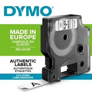 Etichete autocolante, DYMO LabelManager D1, nailon flexibil, 12mm x 3.5m, negru/alb, 16957 S0718040 S07180501