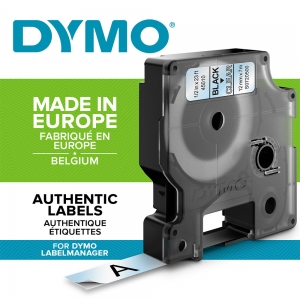DYMO LabelManager D1 labels, 12mm x 7m, black on clear, 45010 S07205001