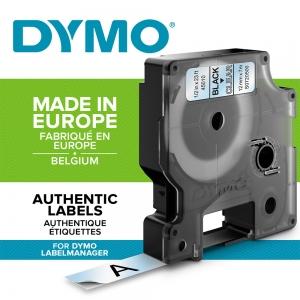 Etichete autocolante, DYMO LabelManager D1, 12mm x 7m, negru/transparent, 45010 S07205001