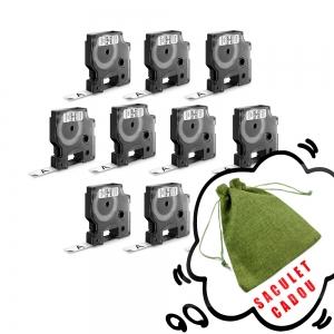Etichete autocolante, DYMO LabelManager D1, 12mm x 7m, negru/alb, 10 buc/set, DY45013 S0720530 20930970