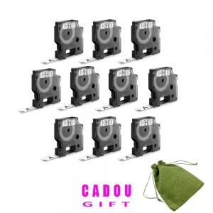 Etichete autocolante, DYMO LabelManager D1, 12mm x 7m, negru/alb, 10 buc/set, DY45013 S0720530 20930974