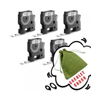 Etichete autocolante, DYMO LabelManager D1, 12mm x 7m, negru/alb, 5 buc/set, 45013 S07205300