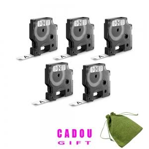 Etichete autocolante, DYMO LabelManager D1, 12mm x 7m, negru/alb, 5 buc/set, 45013 S07205304