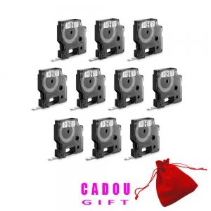 Etichete autocolante, DYMO LabelManager D1, 6mm x 7m, negru/alb, 10 buc/set, 43613 DY436135