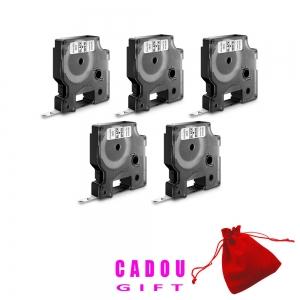 Etichete autocolante, DYMO LabelManager D1, 9mm x 7m, negru/alb, 5 buc/set, 40913, 20930965