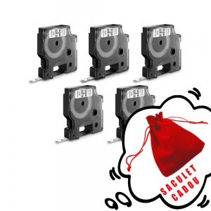 Etichete autocolante, DYMO LabelManager D1, 9mm x 7m, negru/alb, 5 buc/set, 40913, 20930960