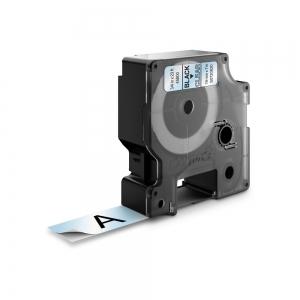 Etichete autocolante plastifiate, DYMO LabelManager D1, 19mm x 7m, negru/transparent, 45800 S07208200