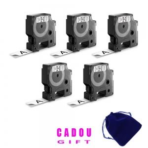 Etichete autocolante plastifiate, DYMO LabelManager D1, 19mm x 7m, negru/alb, 5 buc/set, 45803 S07208305
