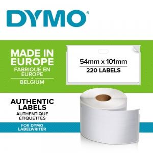 Etichete termice, DYMO LabelWriter, adrese voiaj, permanente, 54mmx101mm, hartie alba, 12 role/cutie, 220 etichete/rola, 99014 S0722420 20155401