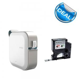 Imprimanta Etichete Bluetooth Dymo MobileLabeler si o caseta etichete profesionale D1 12 mm x 3m, negru/argintiu, 1978246, DY 20844010