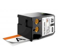 Dymo XTL etich. semnalizare vinil 51mm x 102mm, Negru/alb, header orange, 70 etich./banda0