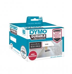 Etichete DYMO Durable LabelWriter din plastic alb pentru coduri de bare (dimensiuni 19 mm x 64 mm) 900buc/rola0