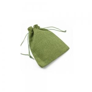 Saculet textil pentru cadouri cu snur, verde, 12.5 x 18 cm0