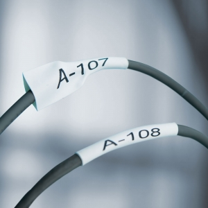 Etichete tub termocontractibil compatibile, DYMO ID1, 12mm x 1.5m, negru/alb, 18055 18055-C2