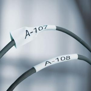Etichete tub termocontractibil compatibil, DYMO ID1, 9mm x 1.5m, negru/alb, 18053 18053-C1