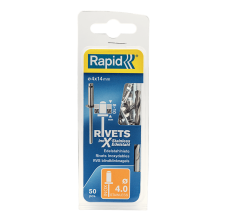 Popnituri Rapid Otel inoxidabil - diametrul de 4 mm x 14 mm, burghiu inclus, 50 buc/ blister1