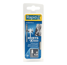 Popnituri Rapid Otel inoxidabil - diametrul de 4.8 mm x 10 mm, burghiu inclus, 50 buc/ blister1