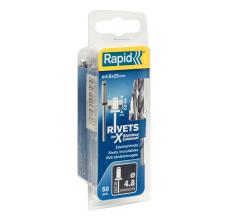 Popnituri Rapid Otel inoxidabil  - diametrul de 4.8 x 25 mm, burghiu inclus, 50 buc/ blister0