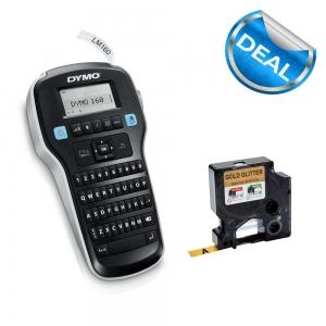 Aparat de etichetat profesional DYMO LabelManager 160P si o caseta etichete profesionale, 12mmx3m, negru/auriu, DY 20843490