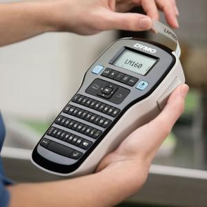 Aparat de etichetat profesional DYMO LabelManager 160P si o caseta etichete profesionale, 12mmx3m, negru/auriu, DY 20843497