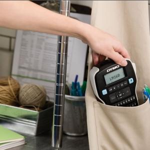 Aparat de etichetat profesional DYMO LabelManager 160P si o caseta etichete profesionale, 12mmx3m, negru/auriu, DY 20843495