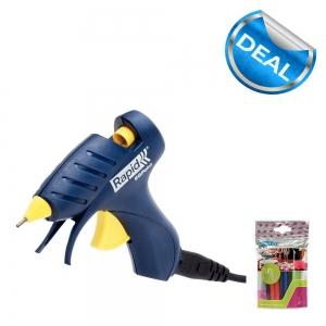 Pistol de lipit Rapid EG POINT si 1 pachet batoane lipici Rapid Fun to Fix diferite culori0