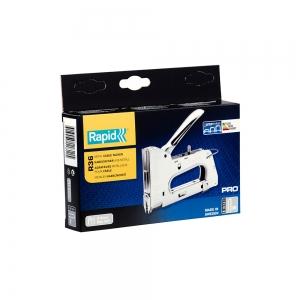 "Capsator tacker cabluri Rapid PRO 36E, capse semirotunde ""U"" 36/10-14 mm, reglare forta capsare in 3 trepte, diametru cablu 6 mm, joasa tensiune, 5 ani garantie, fabricat in Suedia 2051181111"
