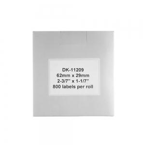 Etichete termice autocolante transport, compatibile, Brother DK-11209, hartie alba, permanente, 29mmx62mm, 800 etichete/rola, suport din plastic inclus DK11209-C3