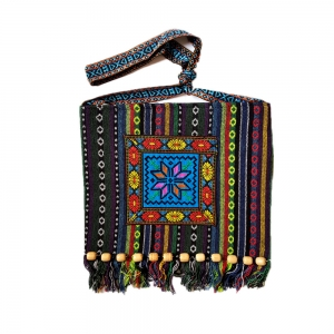 Traditional Romanian Peasant Bag with wood beads, 26x28 cm