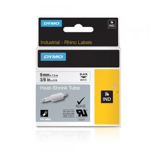 Industrial DYMO, Heat shrink tube labels, 9mm x 1.5m, black on white, 180534